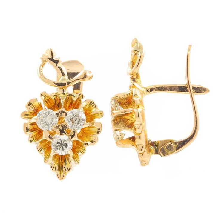 Vintage Estate 10K Yellow Gold Diamond Grape Vine French Back Earrings - 0.42CTW