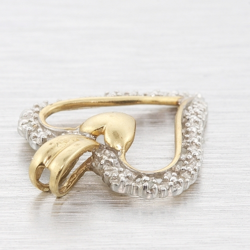 Vintage Estate 10K Yellow Gold Diamond Sparkling Heart-Shaped Ladies Pendant