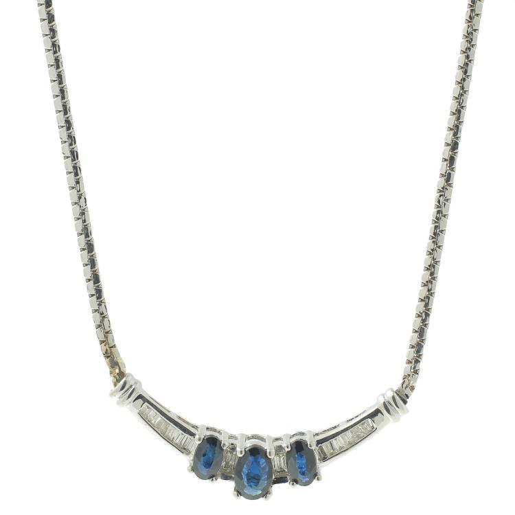 Vintage Estate 10K White Gold Diamond Blue Spinel 17.5
