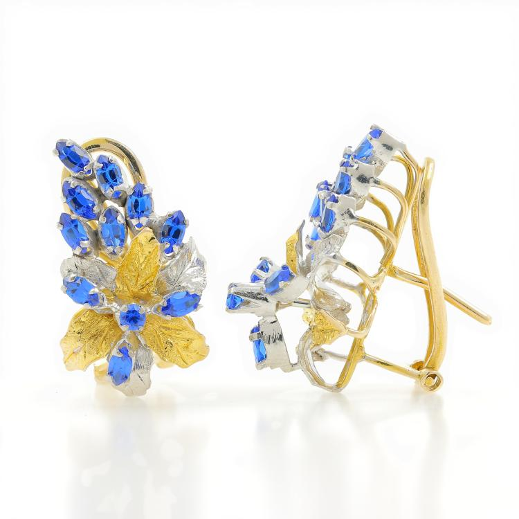 Classic Estate Ladies 14K Yellow White Gold Blue Spinel Floral Earrings