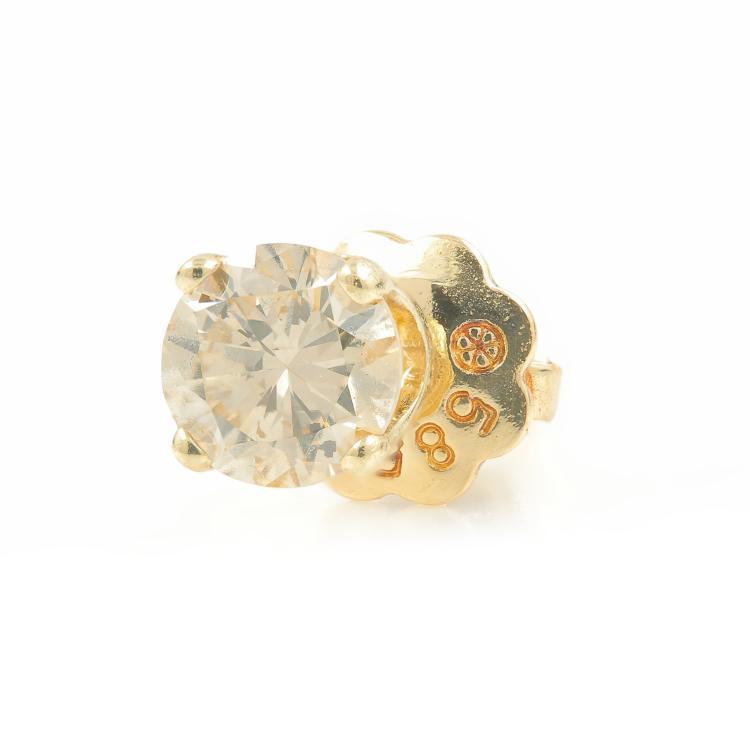Vintage Estaite 14K Yellow Gold Natural Diamond Single Screw Back Stud Earring