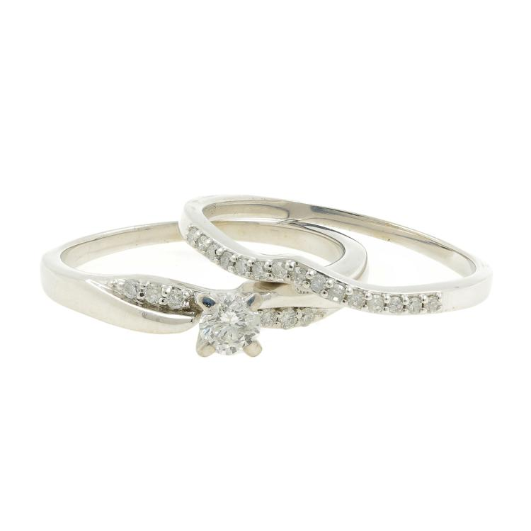 Classic Estate Platinum Brilliant Round Cut Diamond Ladies Wedding Ring Duo Set