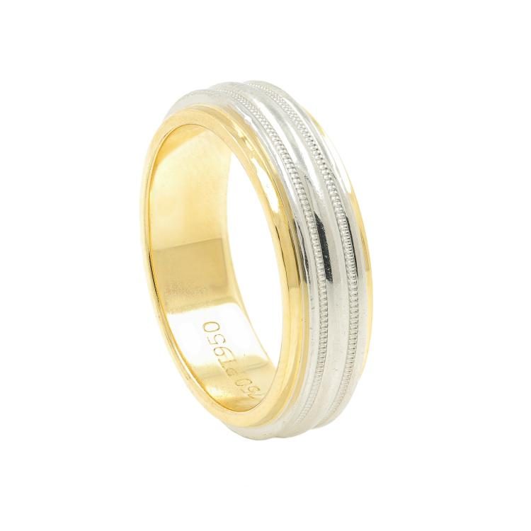 Authentic Estate Ladies TIFFANY & Co. 750 Yellow Gold 950 Platinum Ring Band