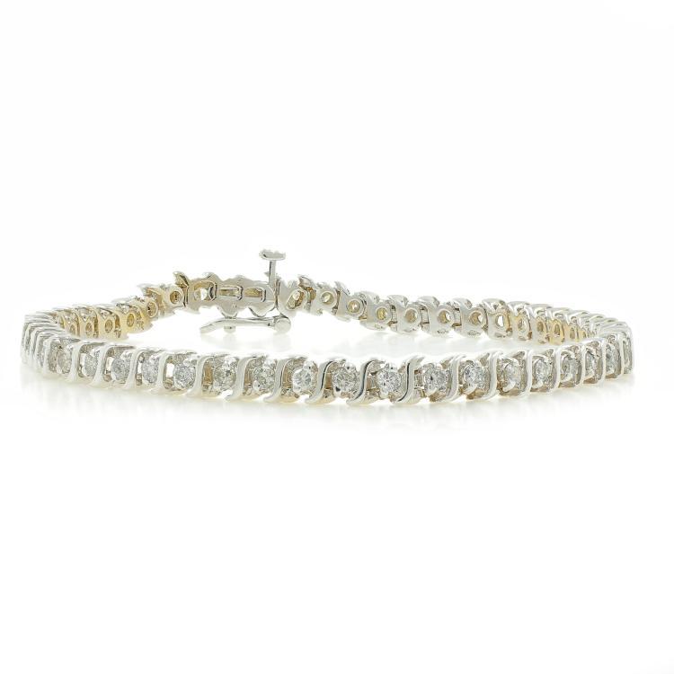 Vintage Estate Ladies 14K White Gold Diamond Tennis Bracelet - 7 Inch - 1.47CTW