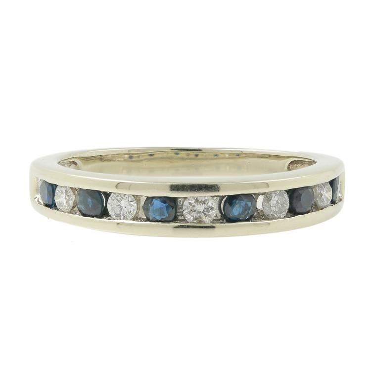 Estate Men's 14K White Gold Blue Spinel Diamond Ring Band