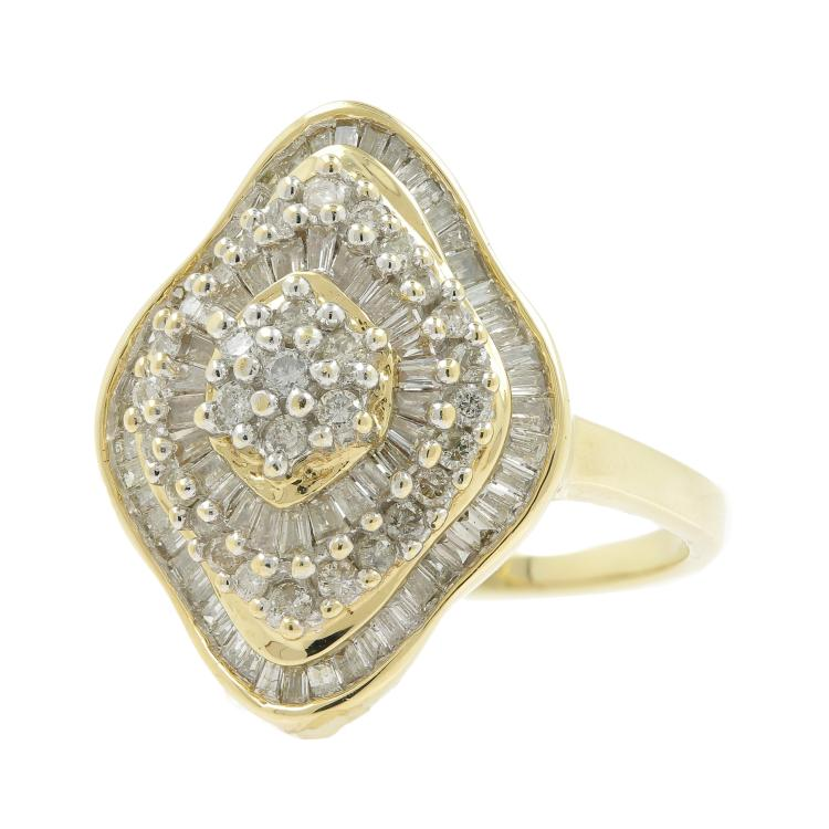 Vintage Classic Estate Ladies 14K Yellow Gold Diamond Cocktail Ring - 1.50CTW