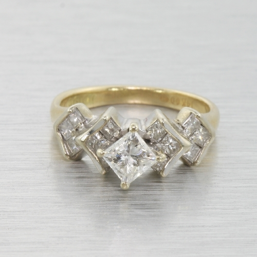 Vintage Estate 14k White and Yellow Gold Princess Cut Diamond Harlequin Ring