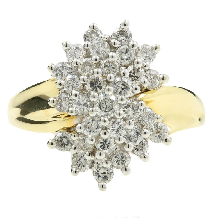 Gorgeous Vintage Estate Ladies 14K Yellow Gold Diamond Cluster Ring - 0.90CTW