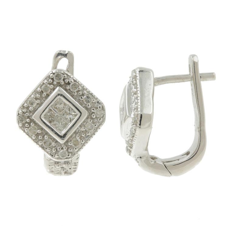 Vintage Estate 14K White Gold Princess Cut Diamond Huggie Hoog Earrings - 0.52CT
