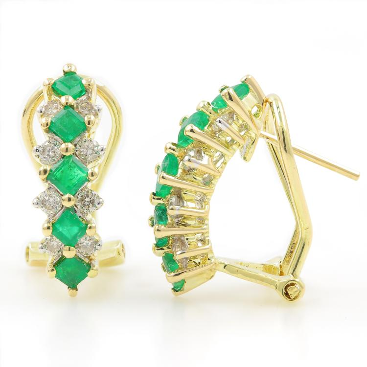 Vintage Estate 14K Yellow Gold Ladies Emerald Diamond Omega Back Earrings