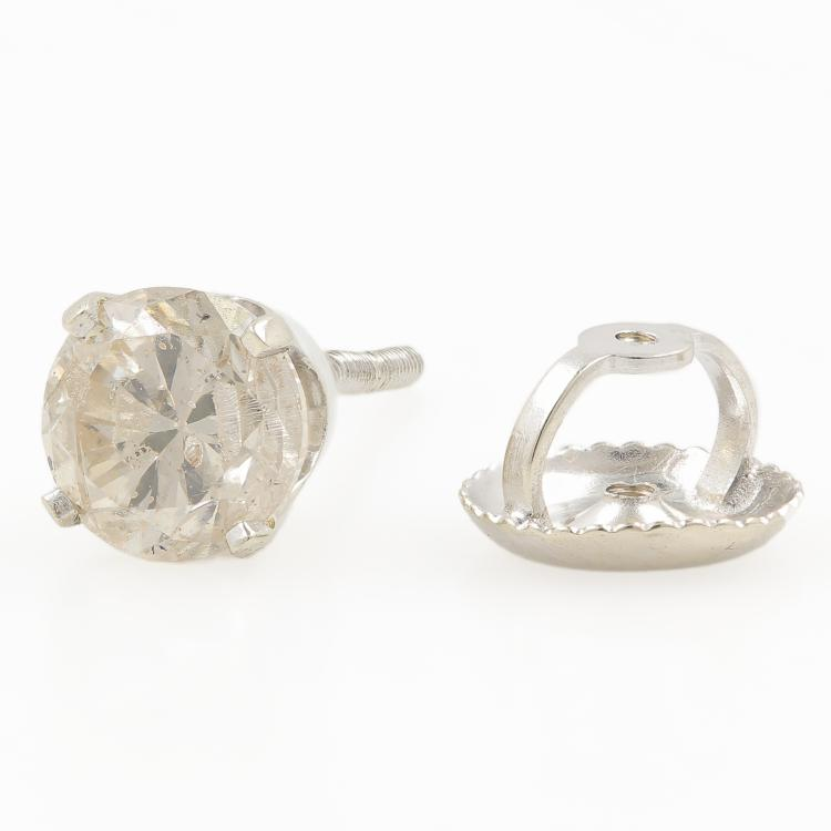 Vintage Estate 14K White Gold Classic Single Diamond Screw Back Stud Earring