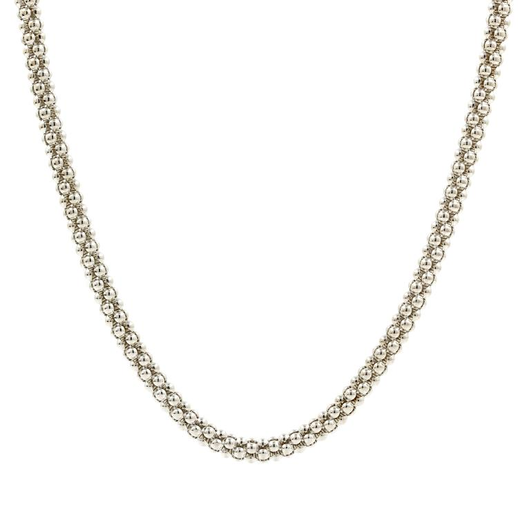 Vintage 14K White Gold Fancy Bead 20 Inch Lobster Claw Clasp Necklace Chain
