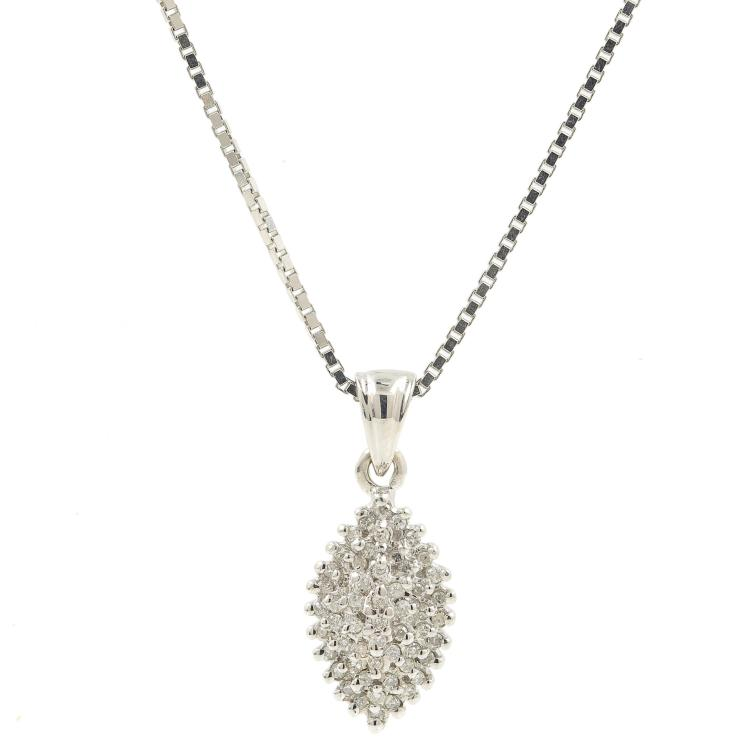 Classic 14K White Gold Sparkling Diamond Pendant - 18 Inch - Ladies Box Chain