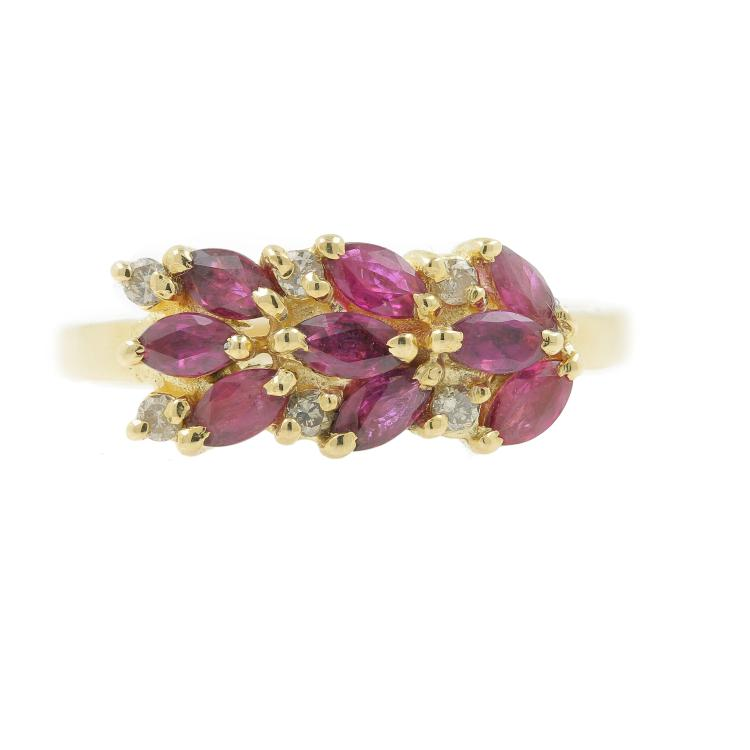 Vintage Classic Estate 14K Yellow Gold Spinel Diamond Ring - 0.50CTW