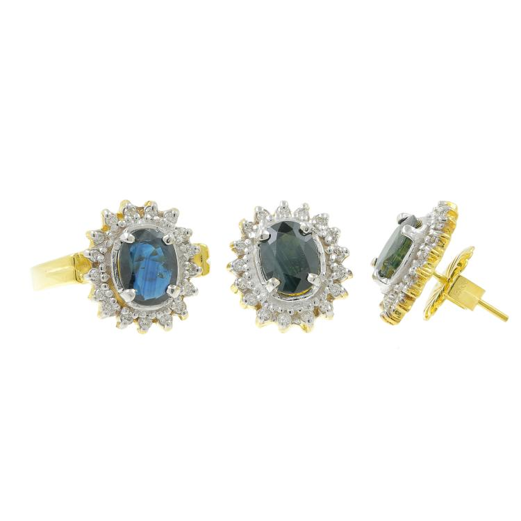 Charming Classic Estate 14K Yellow Gold Topaz Diamond Halo Ladies Earrings Ring