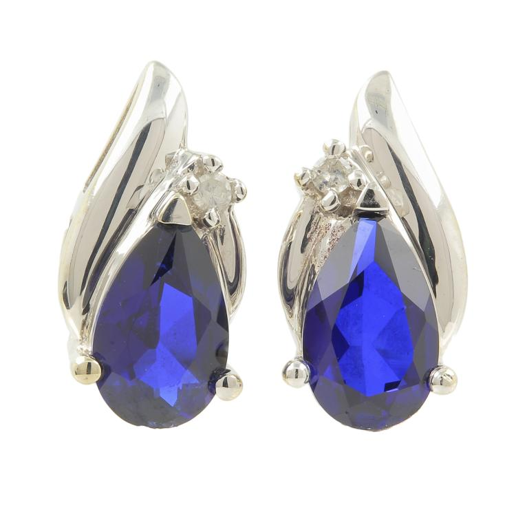 Vintage Estate 10K White Gold Diamond Sapphire BirthStone Push Back Earrings