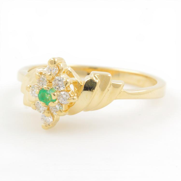 Classic Estate 14K Yellow Gold Emerald Diamond Bypass Ladies Cocktail Ring