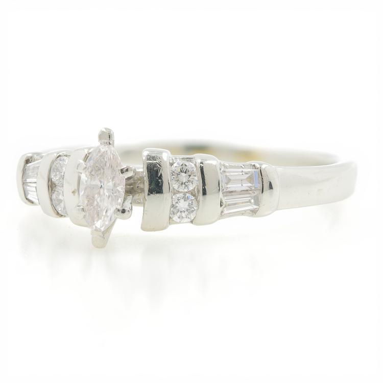 Estate PT950 Platinum Ladies Marquise Diamond Engagement Wedding Ring -  0.33CTW