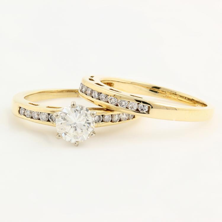 Stylish Modern 14K Yellow Gold Diamond Ladies Wedding Ring Duo Set 1.10CTW - NEW