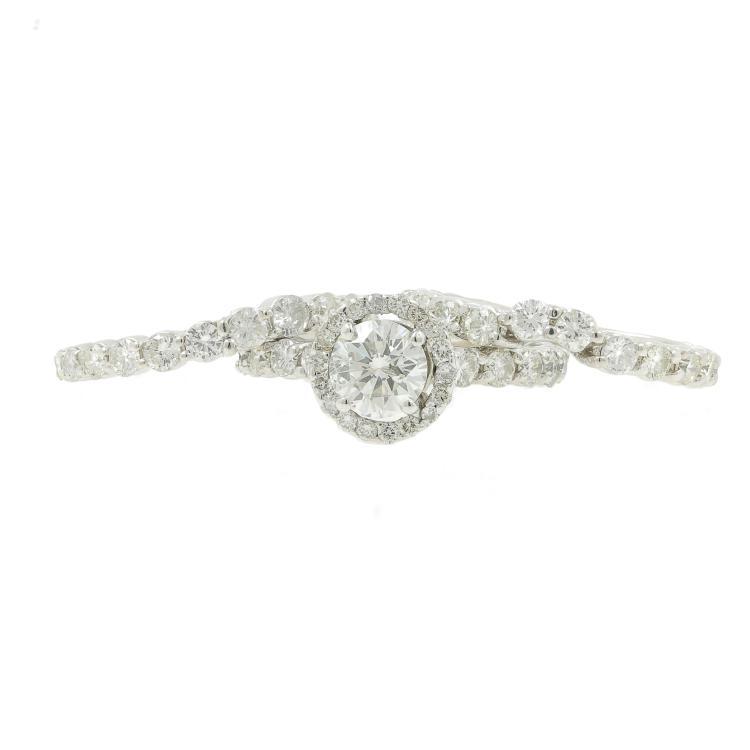 Estate Ladies 14K White Gold Diamond Wedding Ring 3PC Jewelry Set - 2.85CTW