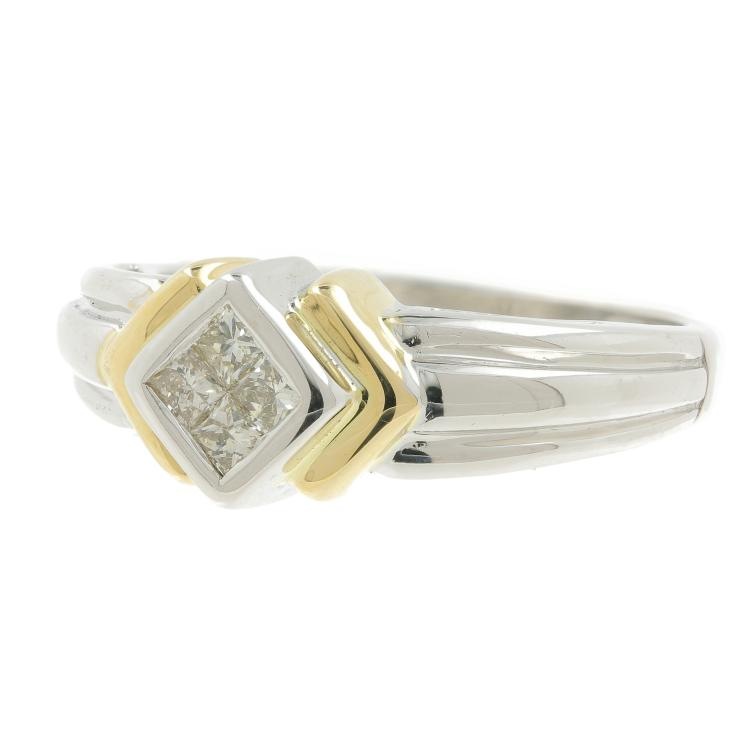 Vintage Classic Estate 14K White & Yellow Gold Ladies Diamond Ring - 0.40CTW