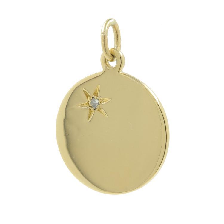 Vintage Estate 14K Yellow Gold Round High Polished Star Diamond Pendant- 0.02CTW