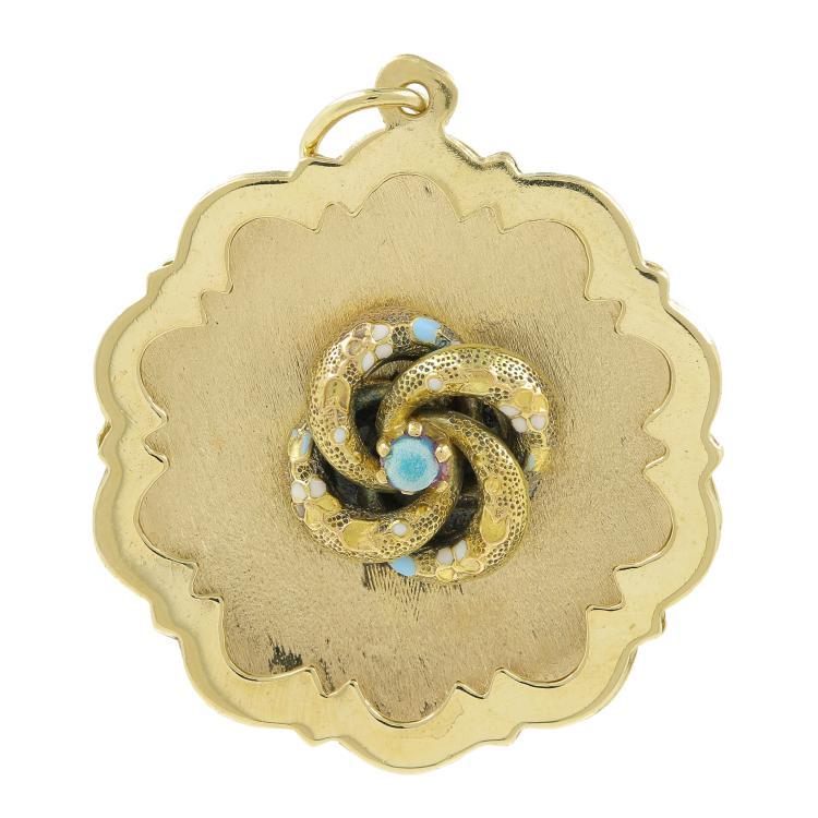 Vintage Estate Ladies 14K Yellow Gold Round Flower 35MM Pendant