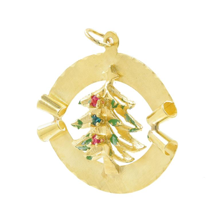 Estate 14K Yellow Gold Festive Christmas Tree 35MM Zirconia Pendant