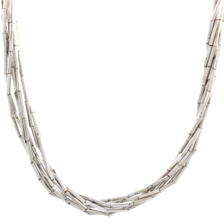 Vintage Classic Estate Ladies 925 Silver Multi Strand Twisted Necklace - 27 Inch