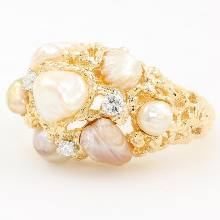 Fine Vintage Classic Estate Ladies 14K Yellow Gold Baroque Pearl Cocktail Ring