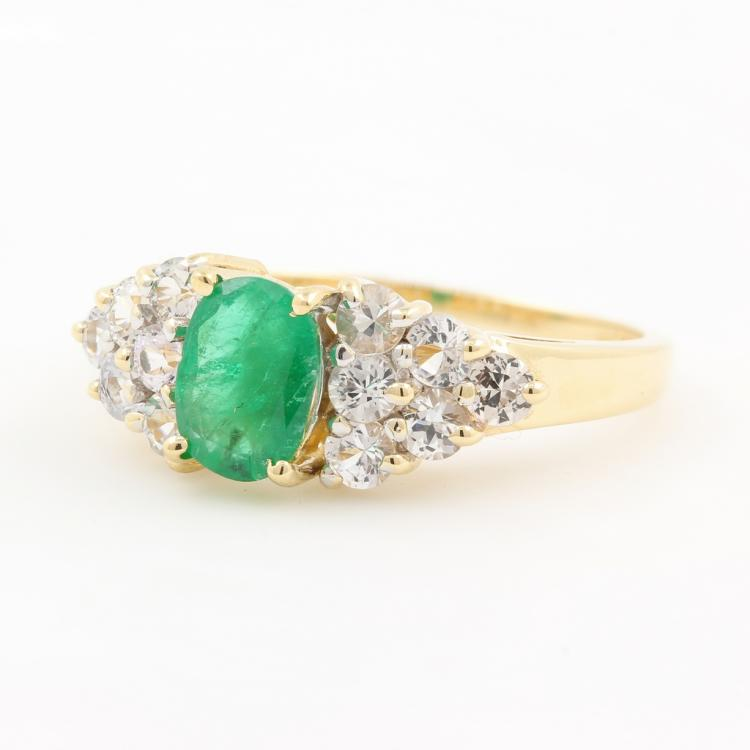 Fancy Modern Ladies 14K Yellow Gold Oval Emerald Sapphire May Birthstone Ring
