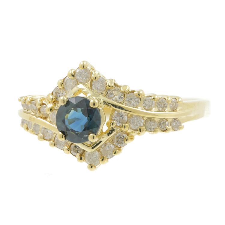 Vintage Classic Estate Ladies 10K Yellow Gold Blue Topaz Diamond Ring - 1.10CTW