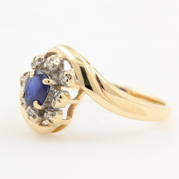 Classic Estate Ladies 10K Yellow Gold Blue Spinel Diamond Cocktail Ring 0.45CTW