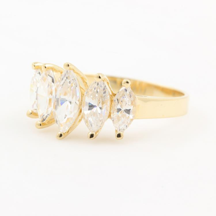 NEW Modern 10K Yellow Gold Marquise Cut Zirconia Ring