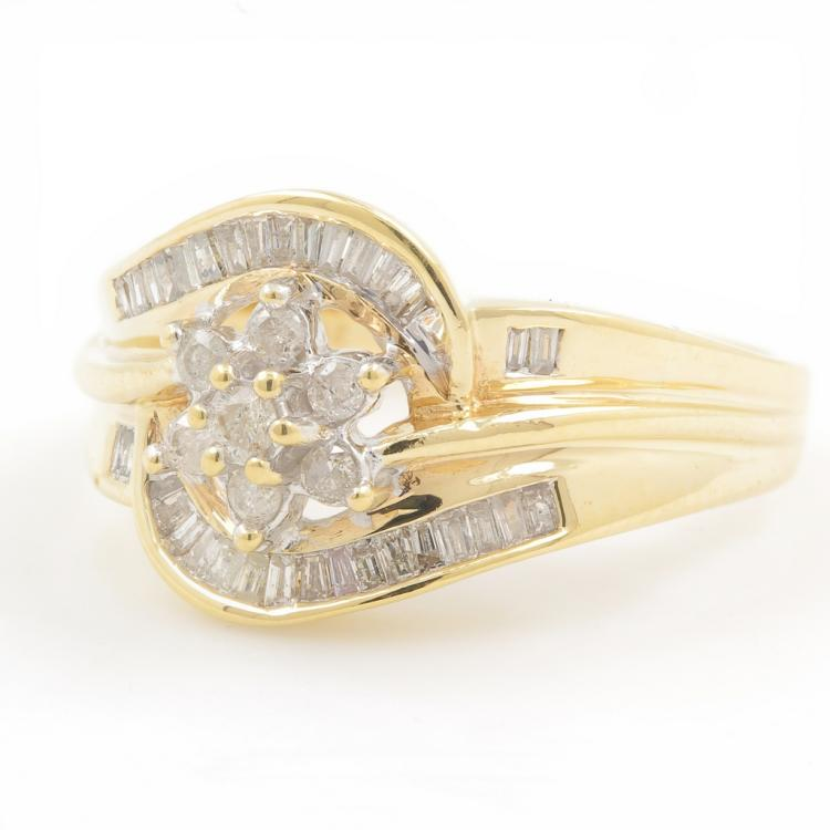 Vintage Estate 10K Yellow Gold Ladies Diamond Bypass Rosita Ring - 0.50CTW