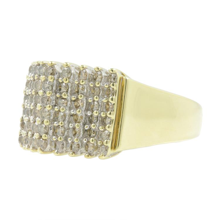 Vintage Estate Ladies 10K Yellow Gold Diamond Cluster Cocktail Ring - 1.08CTW