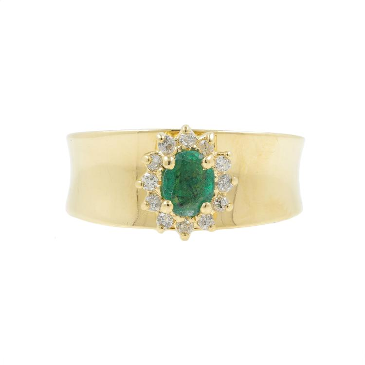 Vintage Classic Estate Ladies 14K Yellow Gold Emerald Diamond Ring - 0.32CTW