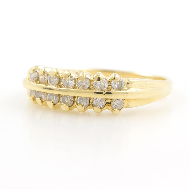 Vintage Classic Estate 14K Yellow Gold Diamond Anniversary Ring Band - 0.30CTW