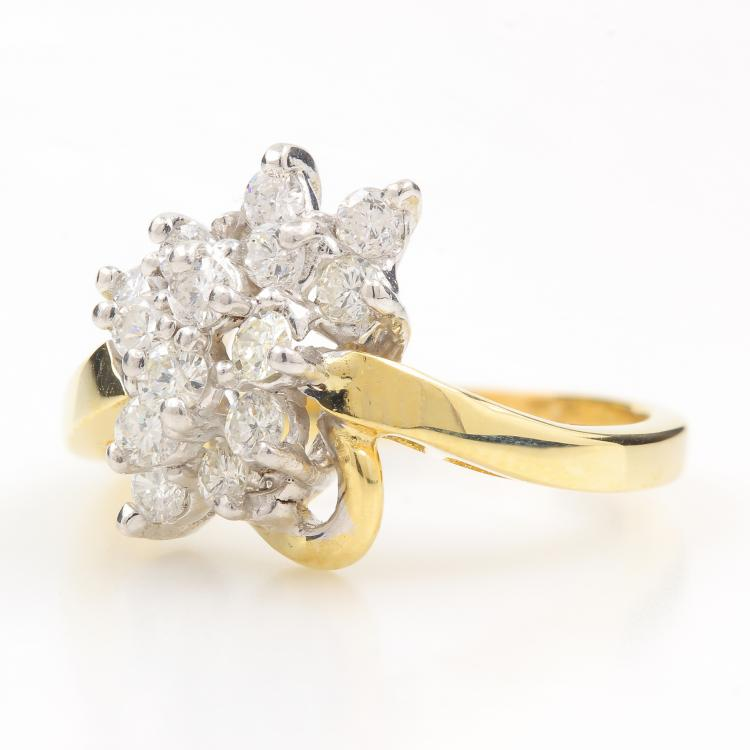 Vintage Classic Estate 14K Yellow Gold Ladies Diamond Cluster Ring - 0.65CTW