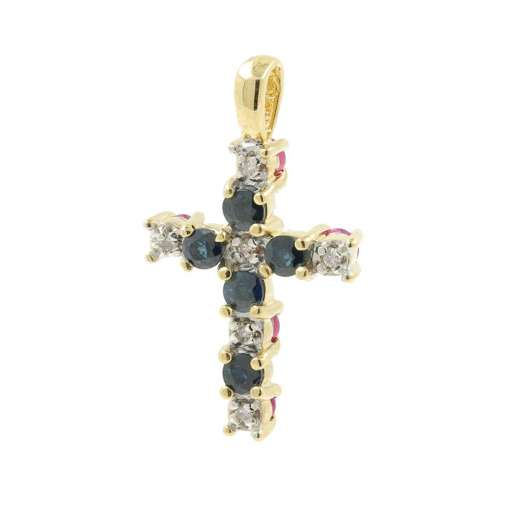 Vintage Estate 14K Yellow Gold Diamond Red Blue Spinel Cross Pendant - 0.66CTW