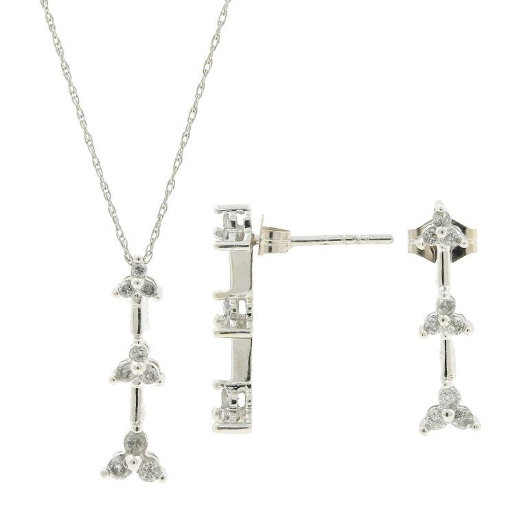 Estate 10K White Gold Diamond Ladies Earrings Pendant Necklace Set - 0.50CTW