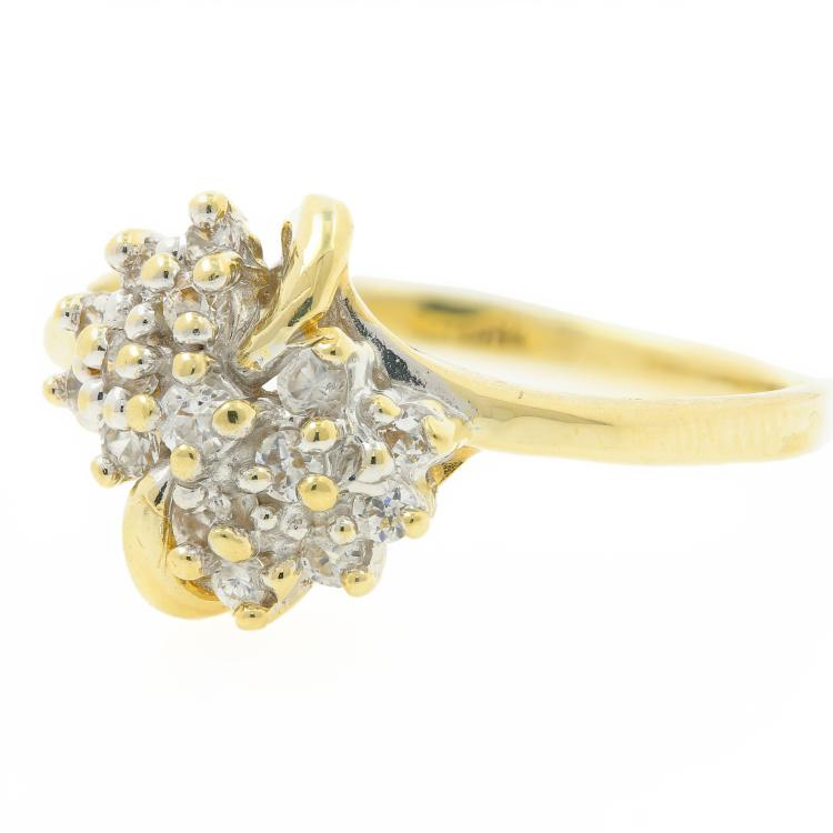 Vintage Classic Estate 10K Yellow Gold Ladies Diamond Cocktail Ring - 0.45CTW