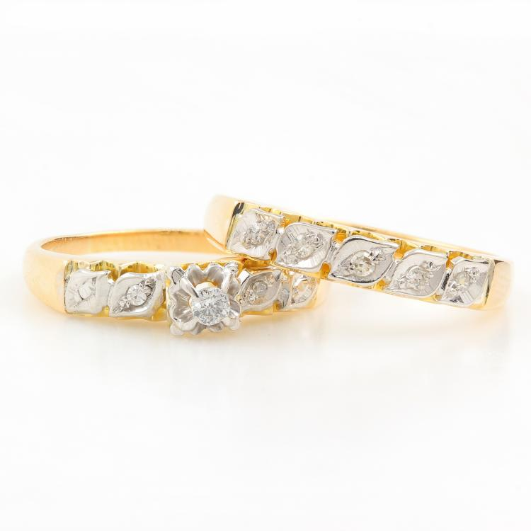 Exquisite Classic 14K Yellow Gold Brilliant Diamond Ladies Wedding Ring Duo Set