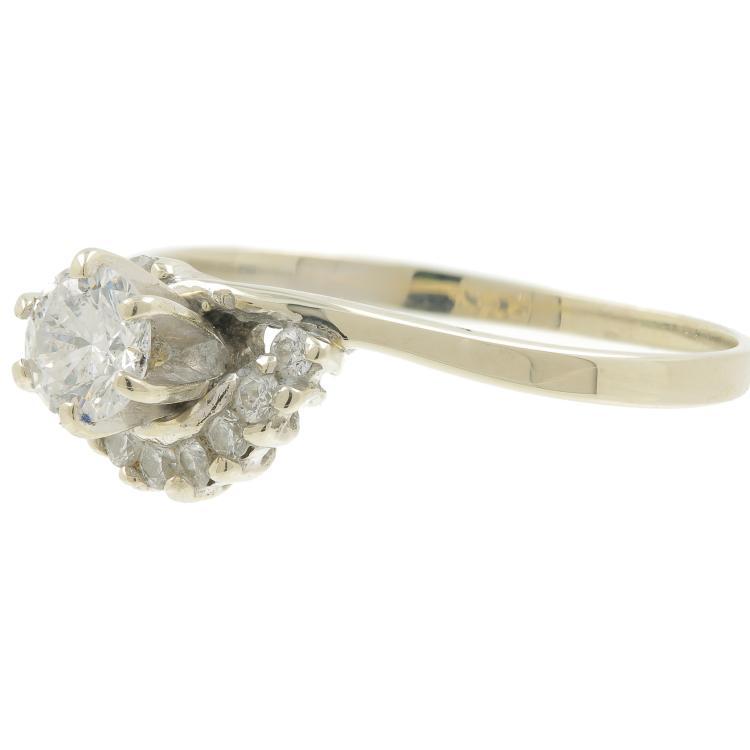 Vintage Classic Estate 14K White Gold Ladies Diamond Engagement Ring - 0.39CTW