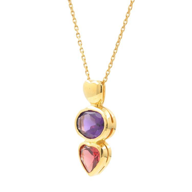 Estate 18K Yellow Gold Amethyst Orange Tourmaline Ladies Pendant Chain Necklace