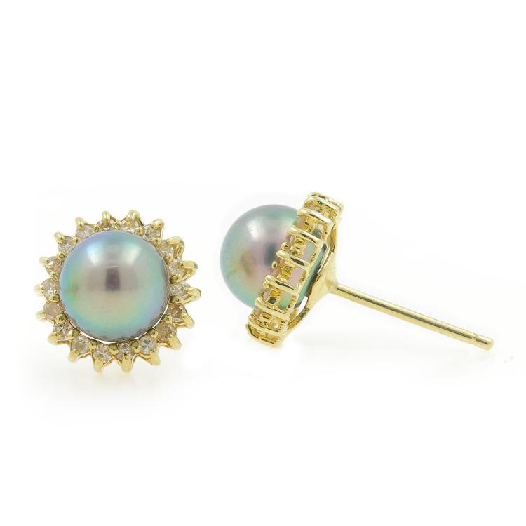 Estate 14K Yellow Gold Pearl Diamond Halo Fancy Ladies Ring Earrings Pendant Set