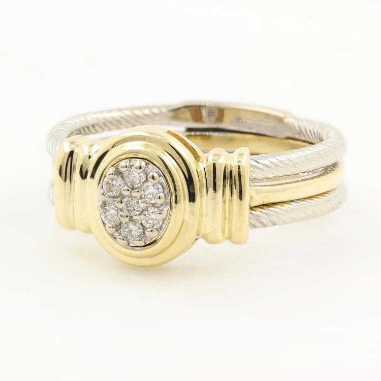 Unique Modern 14K Two Tone White Yellow Gold Ladies Diamond Rope Wire Ring