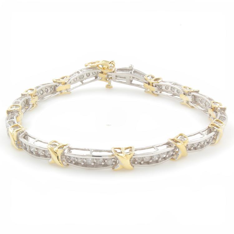 Modern Ladies 10K Yellow White Two Tone Diamond  Bracelet - 7 Inch - 3.00CTW