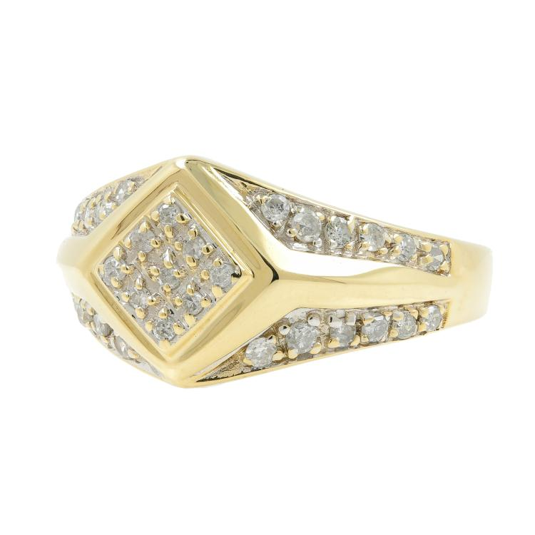 Handsome Men's Vintage 14K Yellow Gold Diamond Ring Jewelry - 0.97CTW