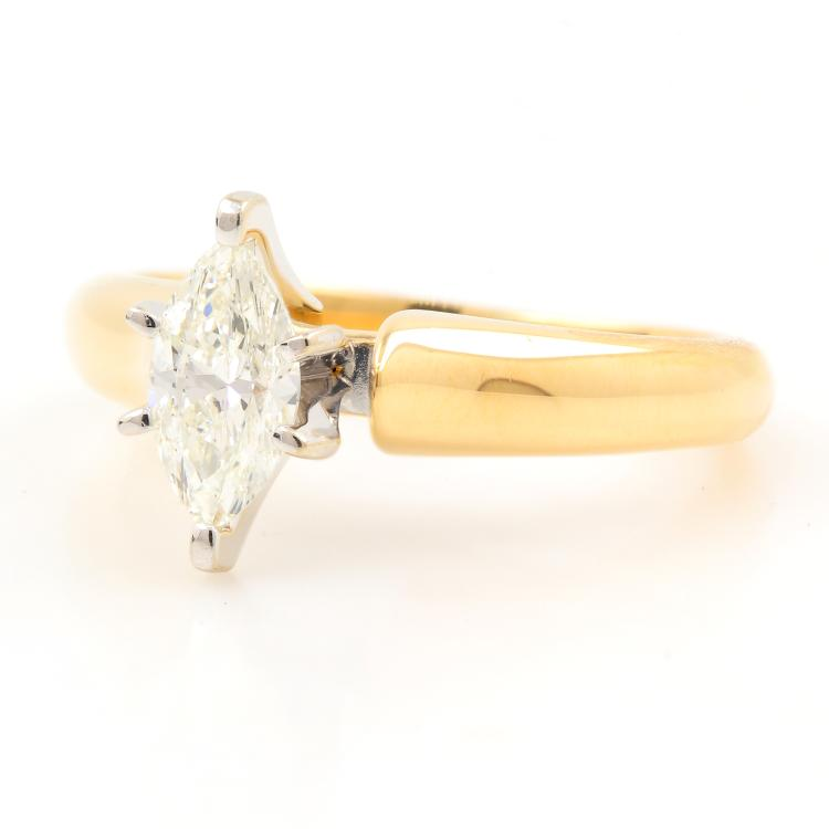 Vintage 14K Yellow Gold Ladies Marquise Cut Diamond Engagement Ring - 0.50CTW